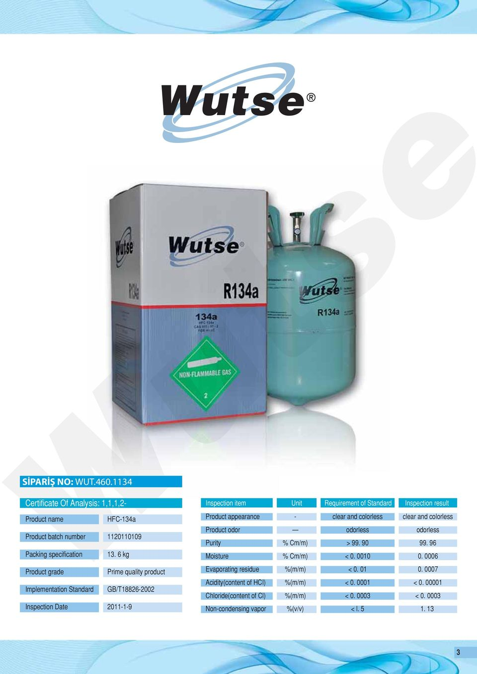 result Product appearance Product odor Purity Moisture Evaporating residue Acidity(content of HCI) Chloride(content of Cl) Non-condensing vapor - % Cm/m) % Cm/m)