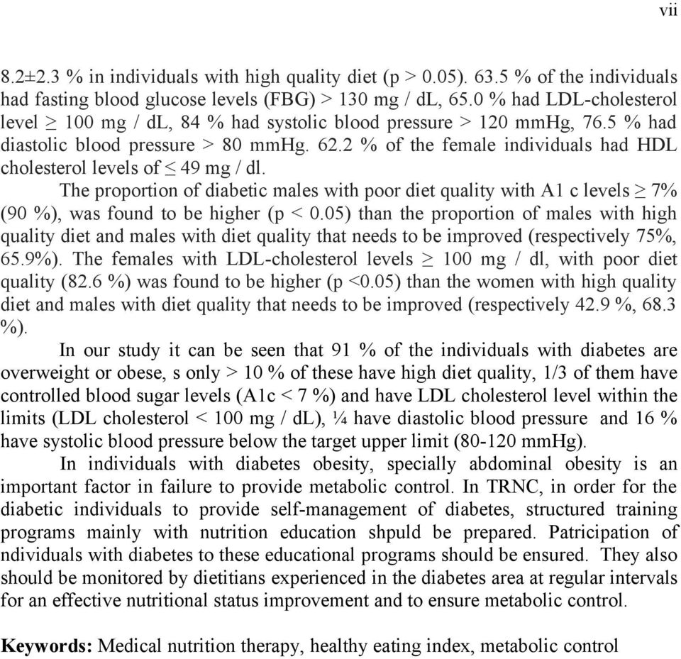 2 % of the female individuals had HDL cholesterol levels of 49 mg / dl. The proportion of diabetic males with poor diet quality with A1 c levels 7% (90 %), was found to be higher (p < 0.