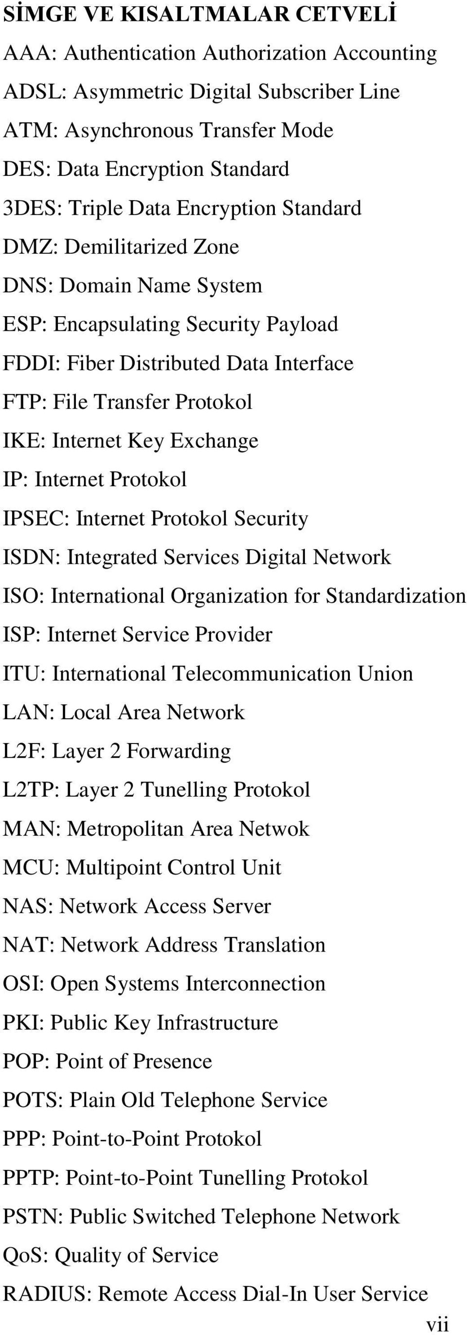 IP: Internet Protokol IPSEC: Internet Protokol Security ISDN: Integrated Services Digital Network ISO: International Organization for Standardization ISP: Internet Service Provider ITU: International