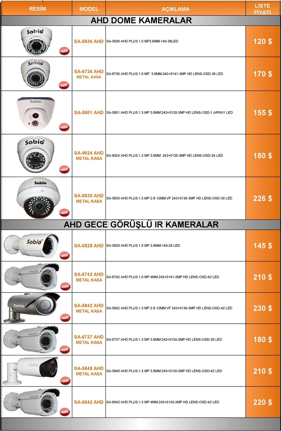 3 MP 2.8-12MM VF 243+0130-3MP HD LENS-OSD-30 LED 226 $ AHD GECE GÖRÜŞLÜ IR KAMERALAR SA-5828 AHD SA-5828 AHD PLUS 1.0 MP 3.6MM-140-28 LED 145 $ SA-6742 AHD METAL KASA SA-6742 AHD PLUS 1.