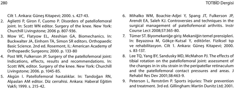 Rosemont, IL: American Academy of Orthopaedic Surgeons; 2. p. 133-8 4. Post WR, Fulkerson JP. Surgery of the patellofemoral joint: Indications, effects, results and recommendations.