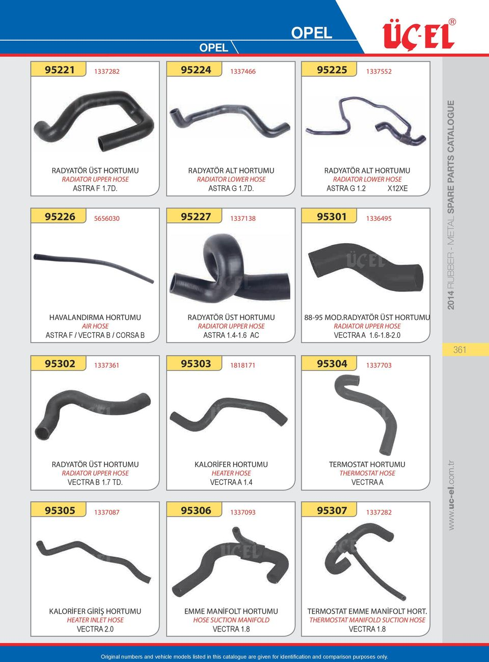 0 1337703 TERMOSTAT HORTUMU THERMOSTAT HOSE VECTRA A 1337282 www.uc-el.com.tr 2014 RUBBER - METAL SPARE PARTS CATALOGUE 361 KALORİFER GİRİŞ HORTUMU HEATER INLET HOSE VECTRA 2.