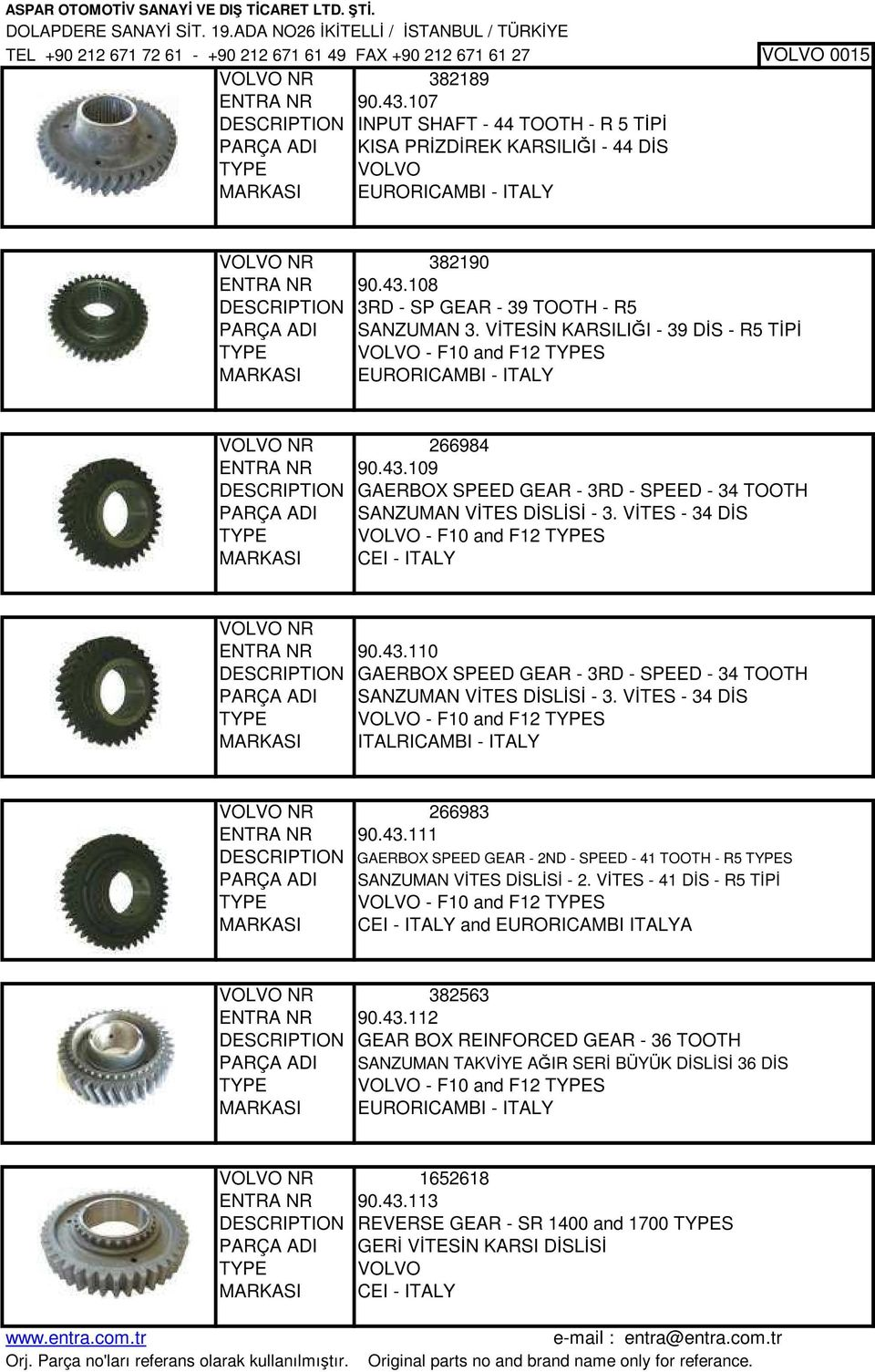 108 DESCRIPTION 3RD - SP GEAR - 39 TOOTH - R5 PARÇA ADI SANZUMAN 3. VİTESİN KARSILIĞI - 39 DİS - R5 TİPİ TYPE VOLVO - F10 and F12 TYPES EURORICAMBI - ITALY VOLVO NR 266984 ENTRA NR 90.43.