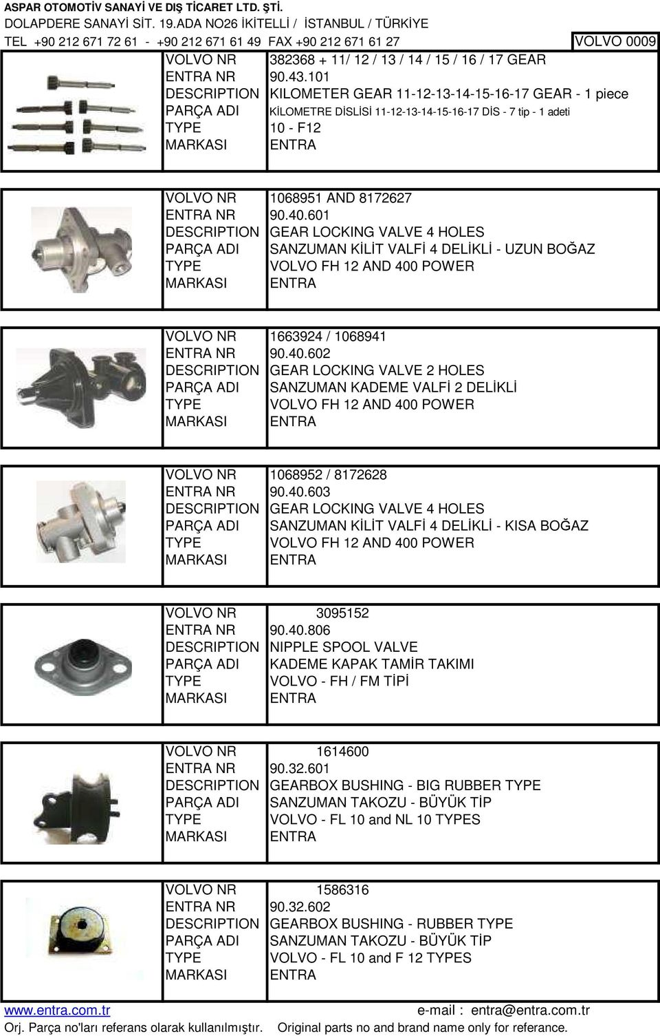 601 DESCRIPTION GEAR LOCKING VALVE 4 HOLES PARÇA ADI SANZUMAN KİLİT VALFİ 4 DELİKLİ - UZUN BOĞAZ TYPE VOLVO FH 12 AND 400