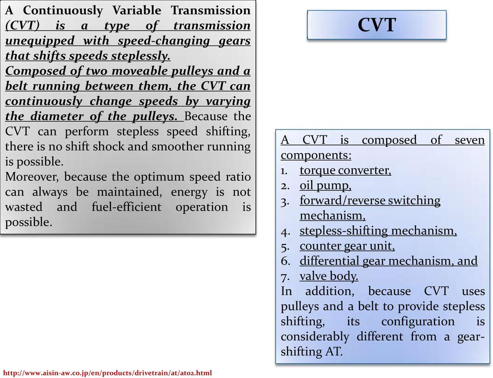 Because the CVT can perform stepless speed shifting, there is no shift shock and smoother running is possible.