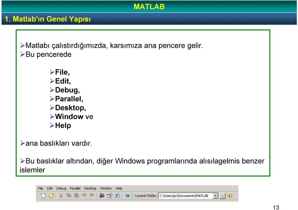 Bu pencerede File, Edit, Debug, Parallel, Desktop, Window ve