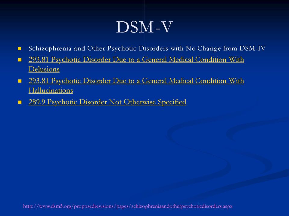 81 Psychotic Disorder Due to a General Medical Condition With Hallucinations 289.