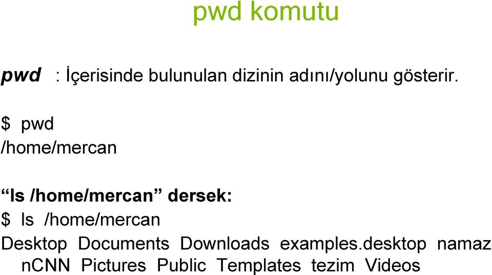 $ pwd /home/mercan ls /home/mercan dersek: $ ls