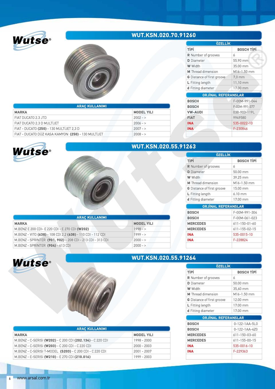 535-0022-10 INA F-230846 WUT.KSN.020.55.91263 50.00 mm 39.25 mm G Distance of first groove 15.00 mm 6.10 mm M.BENZ E 200 CDI- E 220 CDI - E 270 CDI (W202) 1998 - > M.BENZ - VITO (638) - 108 CDI 2.