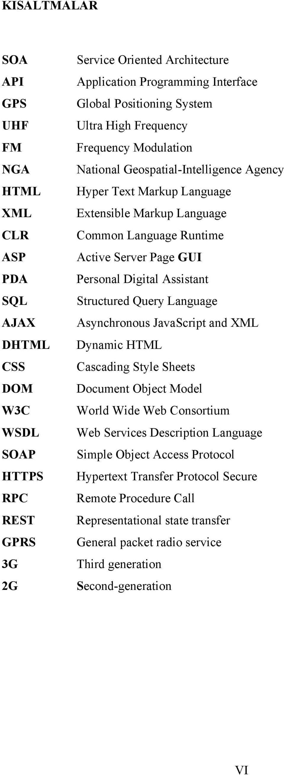 Page GUI Personal Digital Assistant Structured Query Language Asynchronous JavaScript and XML Dynamic HTML Cascading Style Sheets Document Object Model World Wide Web Consortium Web Services