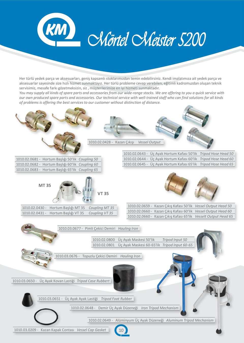 You may supply all kinds of spare parts and accessories from our wide-range stocks. We are offering to you a quick service with our own produced spare parts and accessories.