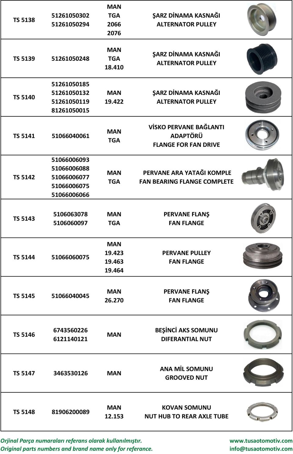 KOMPLE FAN BEARING FLANGE COMPLETE TS 5143 5106063078 5106060097 PERVANE FLANŞ FAN FLANGE TS 5144 51066060075 19.423 19.463 19.464 PERVANE PULLEY FAN FLANGE TS 5145 51066040045 26.