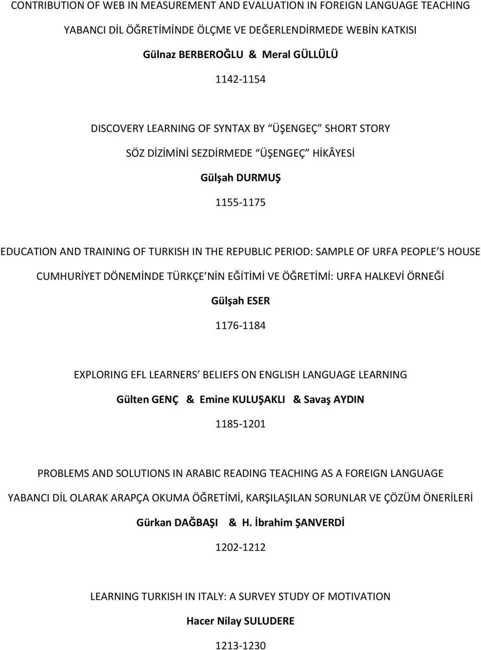 CUMHURİYET DÖNEMİNDE TÜRKÇE NİN EĞİTİMİ VE ÖĞRETİMİ: URFA HALKEVİ ÖRNEĞİ Gülşah ESER 1176-1184 EXPLORING EFL LEARNERS BELIEFS ON ENGLISH LANGUAGE LEARNING Gülten GENÇ & Emine KULUŞAKLI & Savaş AYDIN