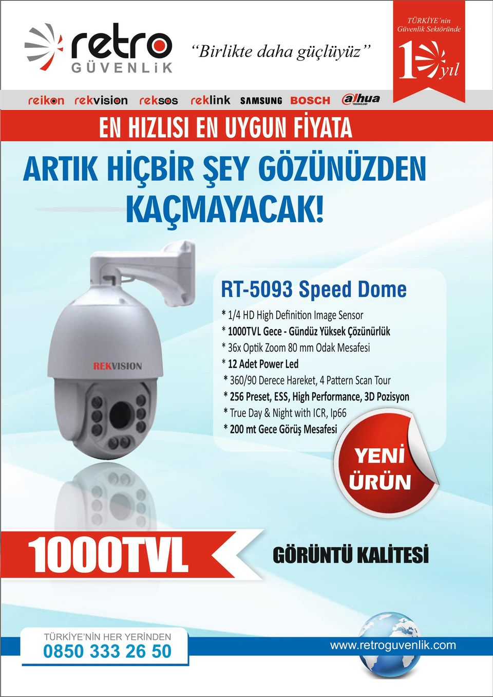 Mesafesi * 12 Adet Power Led * 360/90 Derece Hareket, 4 Pa ern Scan Tour * 256 Preset, ESS, High Performance, 3D Pozisyon * True