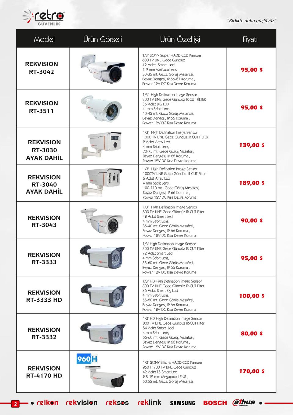 "Gece Görüş Mesafesi, 95,00 $ 1/3"" High Defination Image Sensor 1000 TV LINE Gece Gündüz IR CUT FİLTER 2 Adet Array Led 4 mm Sabit Lens, 70-75 mt."