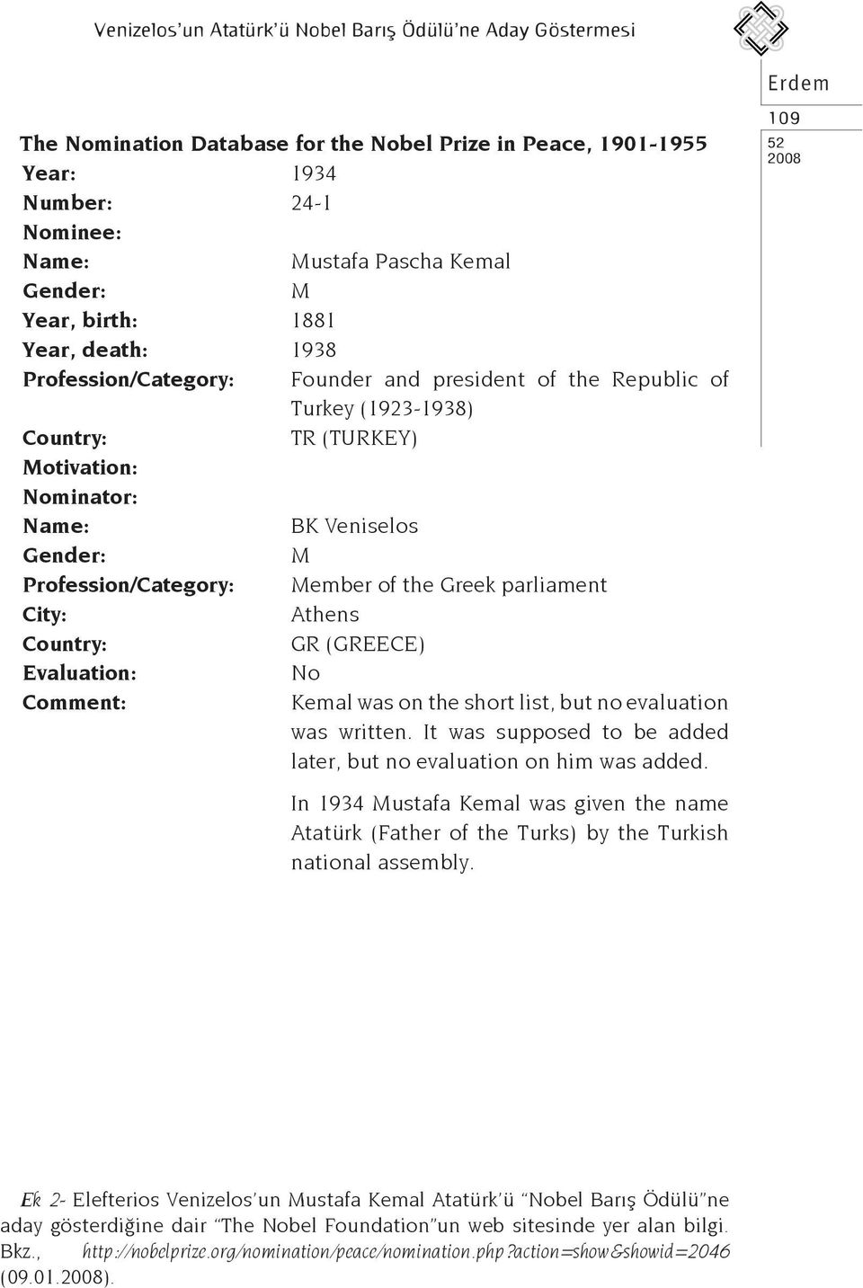Profession/Category: Member of the Greek parliament City: Athens Country: GR (GREECE) Evaluation: No Comment: Kemal was on the short list, but no evaluation was written.