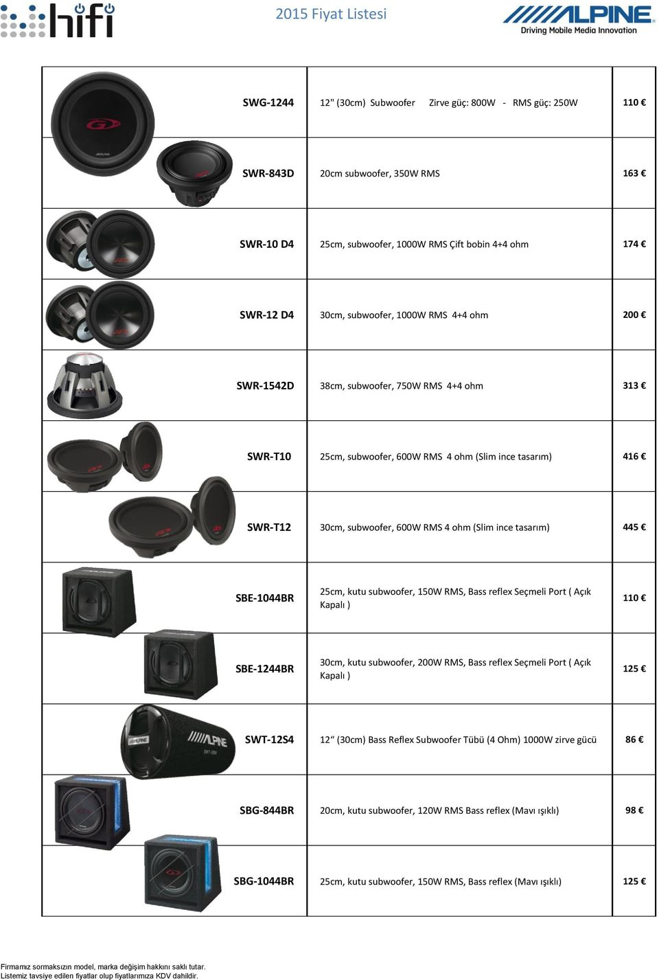 445 SBE-1044BR 25cm, kutu subwoofer, 150W RMS, Bass reflex Seçmeli Port ( Açık Kapalı ) 110 SBE-1244BR 30cm, kutu subwoofer, 200W RMS, Bass reflex Seçmeli Port ( Açık Kapalı ) 125 SWT-12S4 12