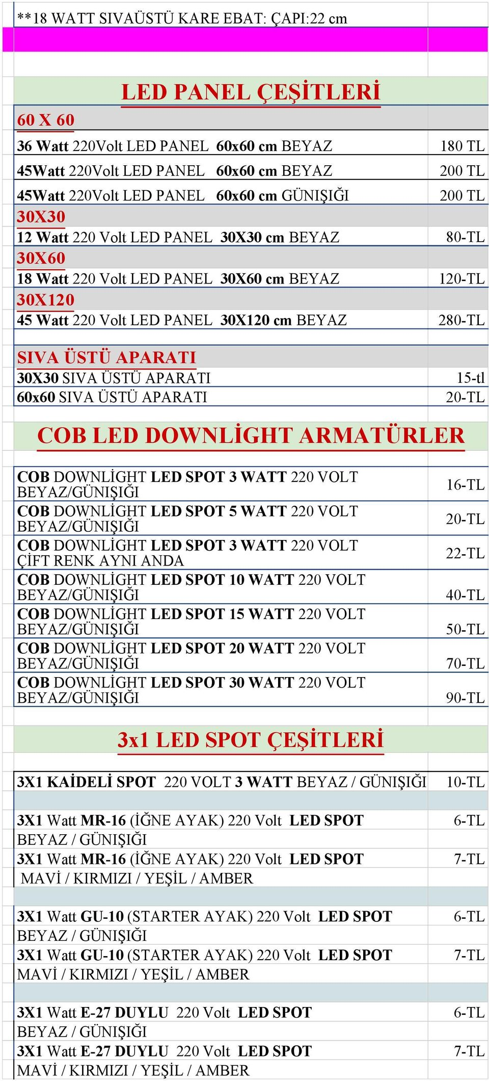 30X30 SIVA ÜSTÜ APARATI 60x60 SIVA ÜSTÜ APARATI 15-tl 20-TL COB LED DOWNLİGHT ARMATÜRLER COB DOWNLİGHT LED SPOT 3 WATT 220 VOLT COB DOWNLİGHT LED SPOT 5 WATT 220 VOLT COB DOWNLİGHT LED SPOT 3 WATT
