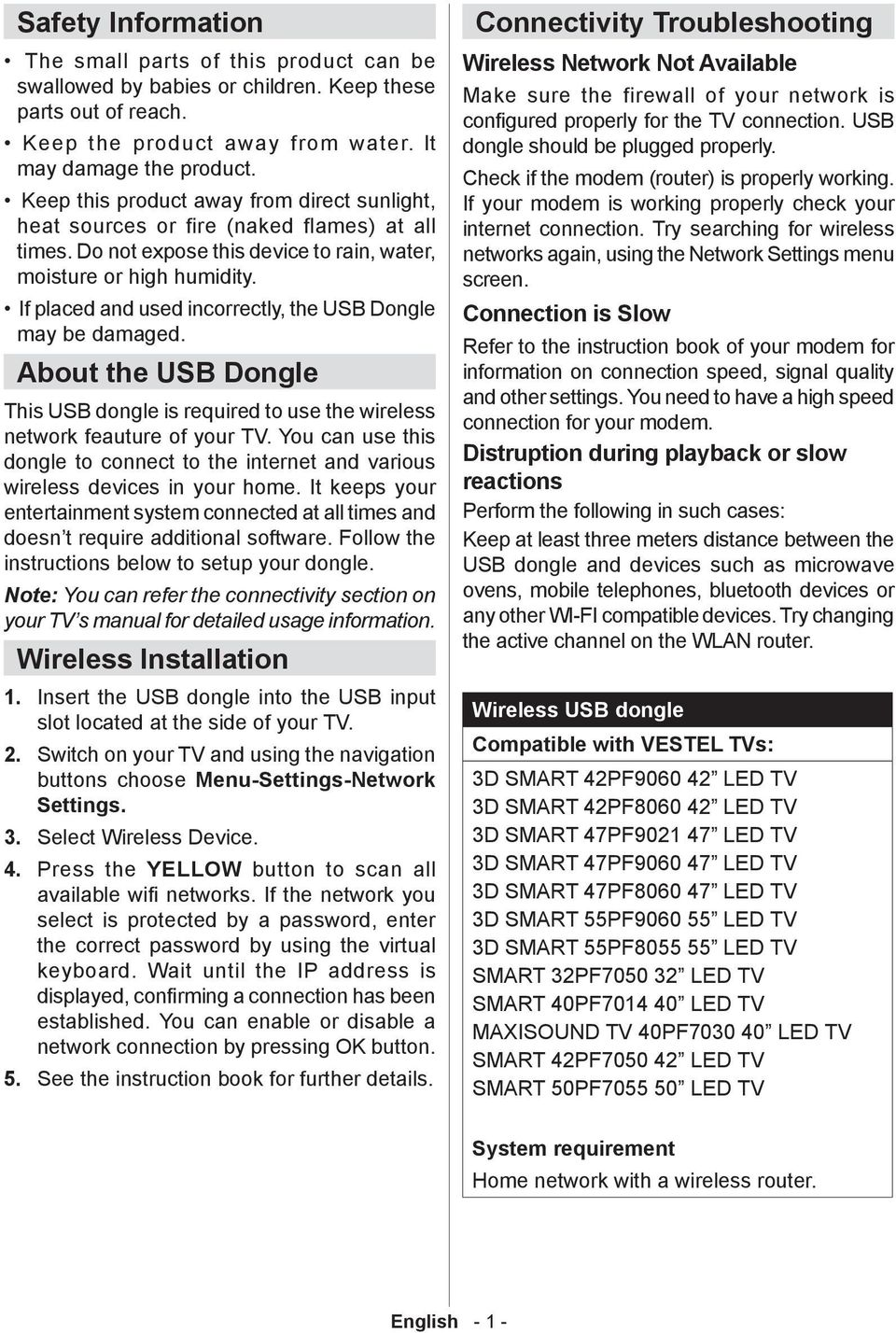 If placed and used incorrectly, the USB Dongle may be damaged. About the USB Dongle This USB dongle is required to use the wireless network feauture of your TV.
