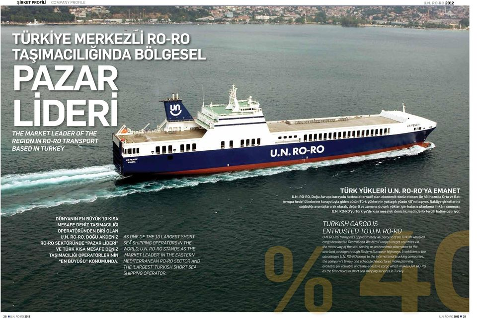 AS ONE OF THE 10 LARGEST SHORT SEA SHIPPING OPERATORS IN THE WORLD, U.N. RO-RO STANDS AS THE MARKET LEADER IN THE EASTERN MEDITERRANEAN RO-RO SECTOR AND THE LARGEST TURKISH SHORT SEA SHIPPING OPERATOR.