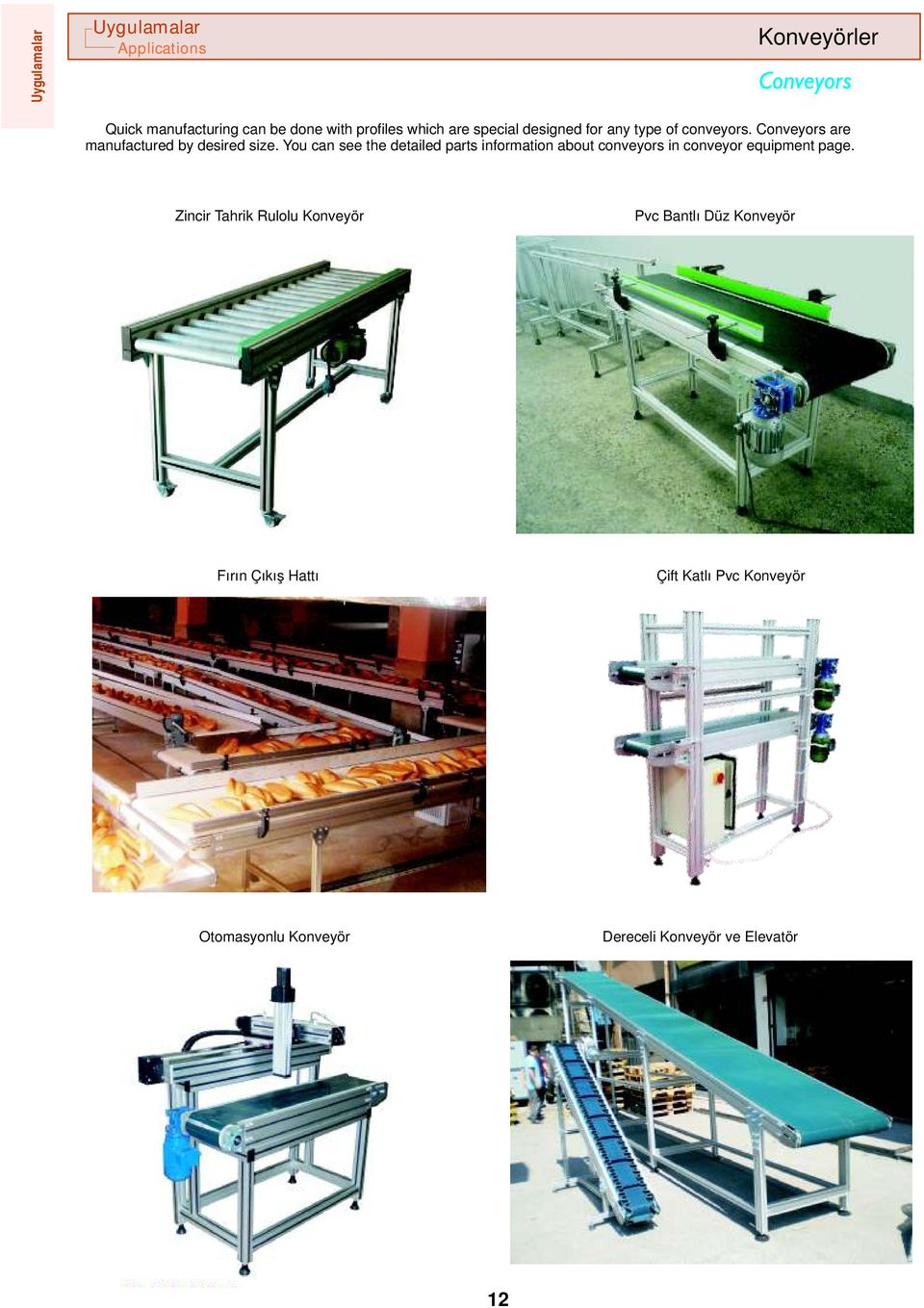 You can see the detailed parts information about conveyors in conveyor equipment page.