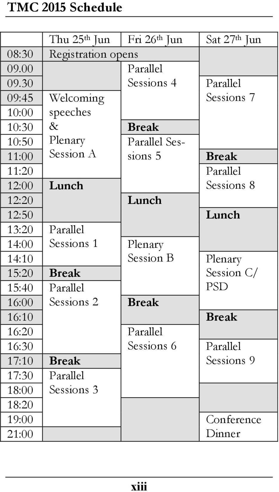 Parallel 12:00 Lunch Sessions 8 12:20 Lunch 12:50 Lunch 13:20 Parallel 14:00 Sessions 1 Plenary 14:10 Session B Plenary 15:20 Break Session C/