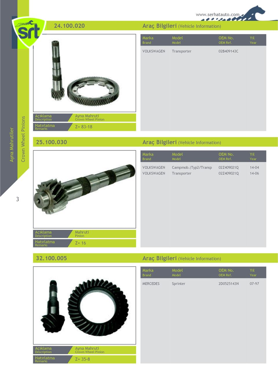 Ayna Mahruti Crown Wheel Pinion Z= 83-18 25.100.030 Araç Bilgileri (Vehicle Information) VOLKSWAGEN Campmob.