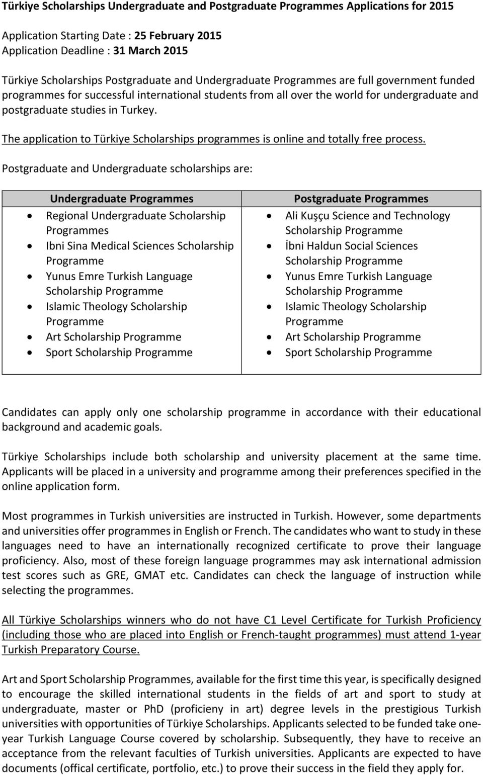 The application to Türkiye Scholarships programmes is online and totally free process.