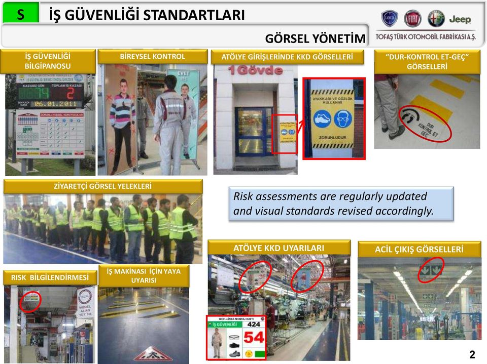 YELEKLERİ Risk assessments are regularly updated and visual standards revised