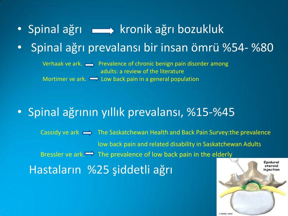 Low back pain in a general population Spinal ağrının yıllık prevalansı, %15-%45 Cassidy ve ark The Saskatchewan Health and