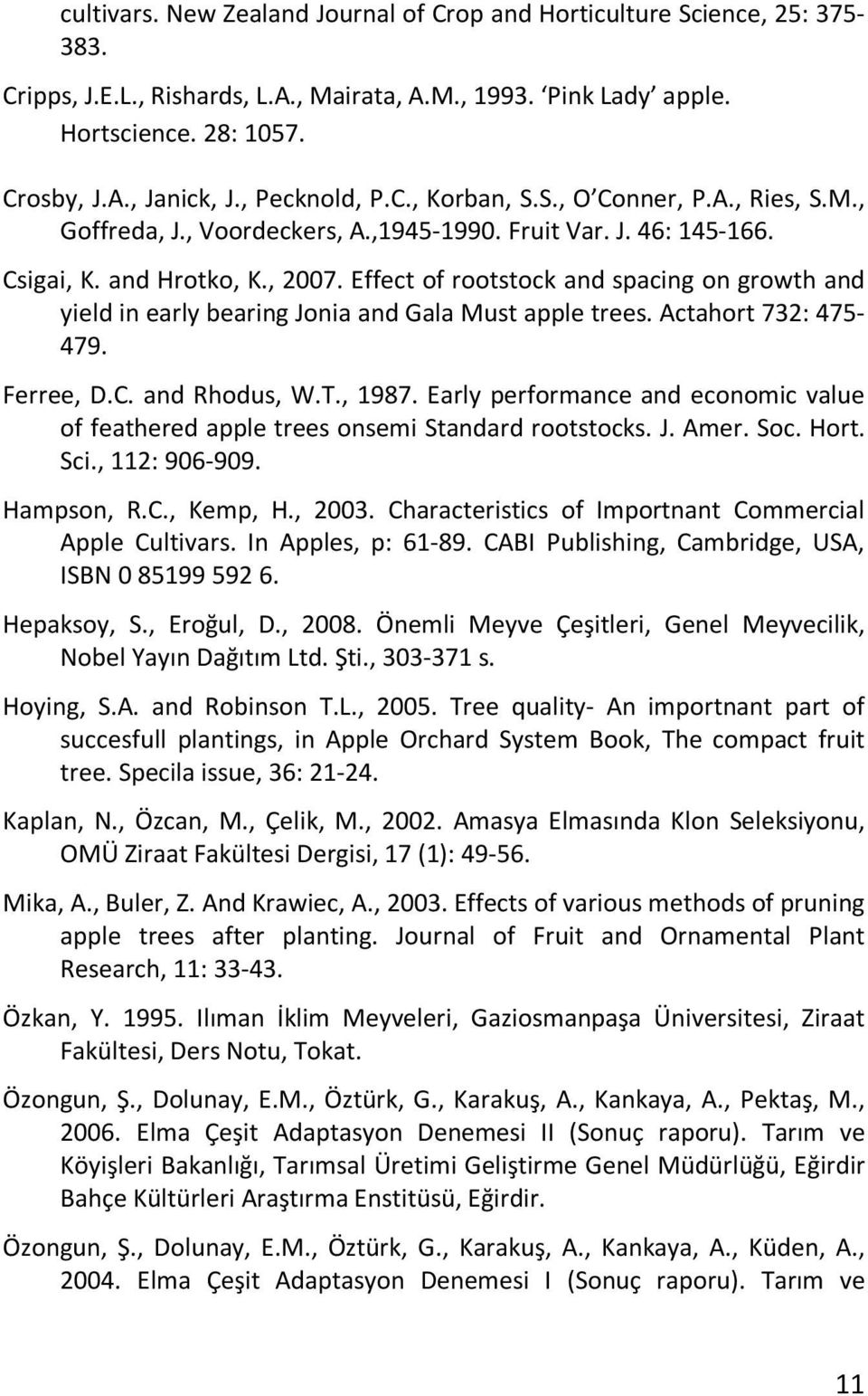 Effect of rootstock and spacing on growth and yield in early bearing Jonia and Gala Must apple trees. Actahort 732: 475-479. Ferree, D.C. and Rhodus, W.T., 1987.