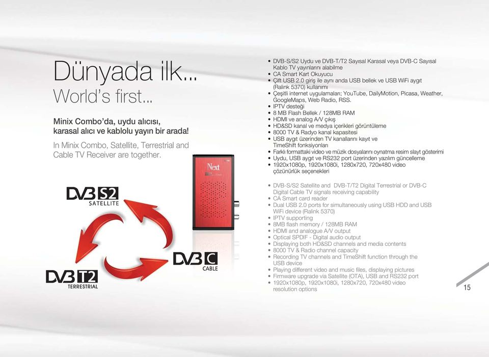 0 girifl ile ayn anda USB bellek ve USB WiFi ayg t (Ralink 5370) kullan m Çeflitli internet uygulamalar ; YouTube, DailyMotion, Picasa, Weather, GoogleMaps, Web Radio, RSS.