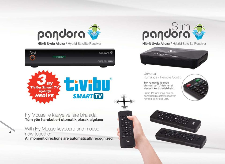 Basic TV functions can be controlled by satellite receiver remote controller unit. Fly Mouse ile klavye ve fare birarada.