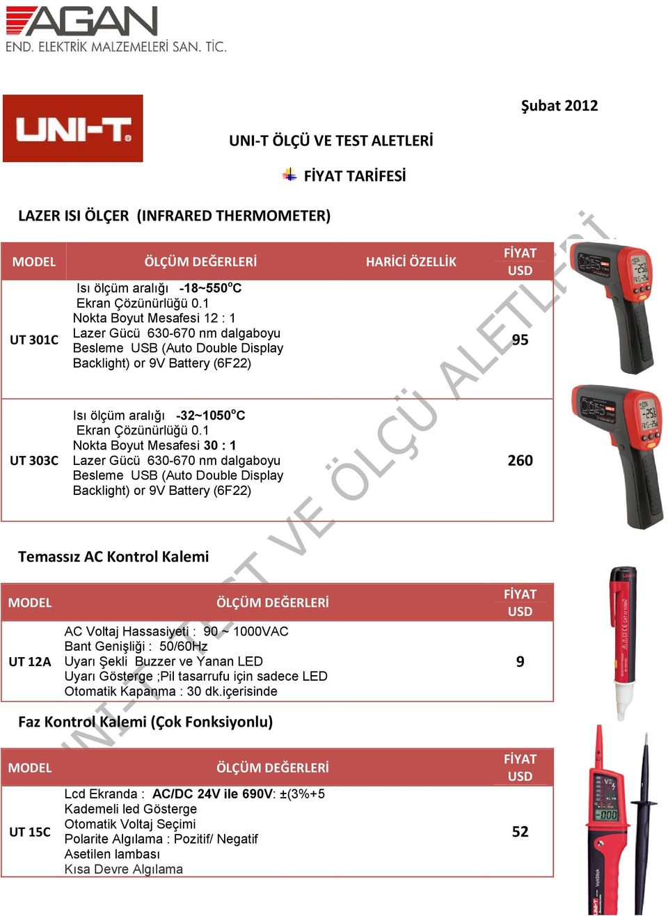 1 Nokta Boyut Mesafesi 30 : 1 Lazer Gücü 630-670 nm dalgaboyu Besleme USB (Auto Double Display Backlight) or 9V Battery (6F22) 260 Temassız AC Kontrol Kalemi UT 12A AC Voltaj Hassasiyeti : 90 ~