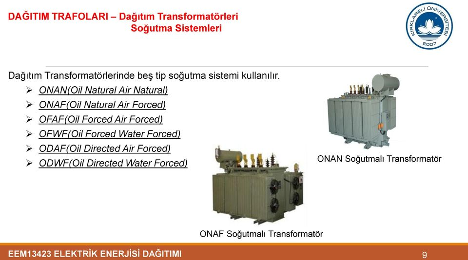 ONAN(Oil Natural Air Natural) ONAF(Oil Natural Air Forced) OFAF(Oil Forced Air Forced) OFWF(Oil
