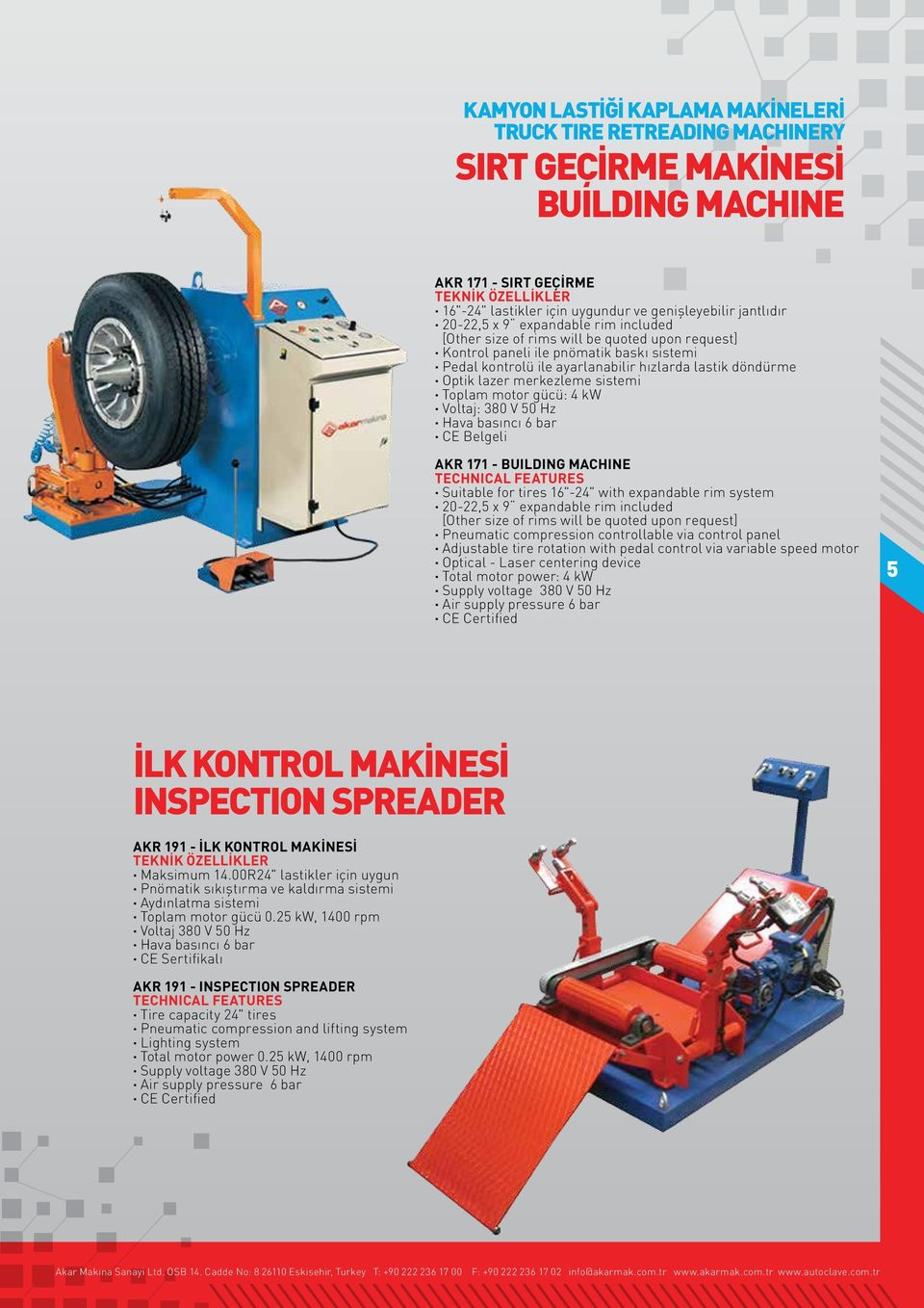 "bar CE Belgeli AKR 171 - BUILDING MACHINE Suitable for tires 16""-24"" with expandable rim system 20-22,5 x 9 expandable rim included [Other size of rims will be quoted upon request] Pneumatic"