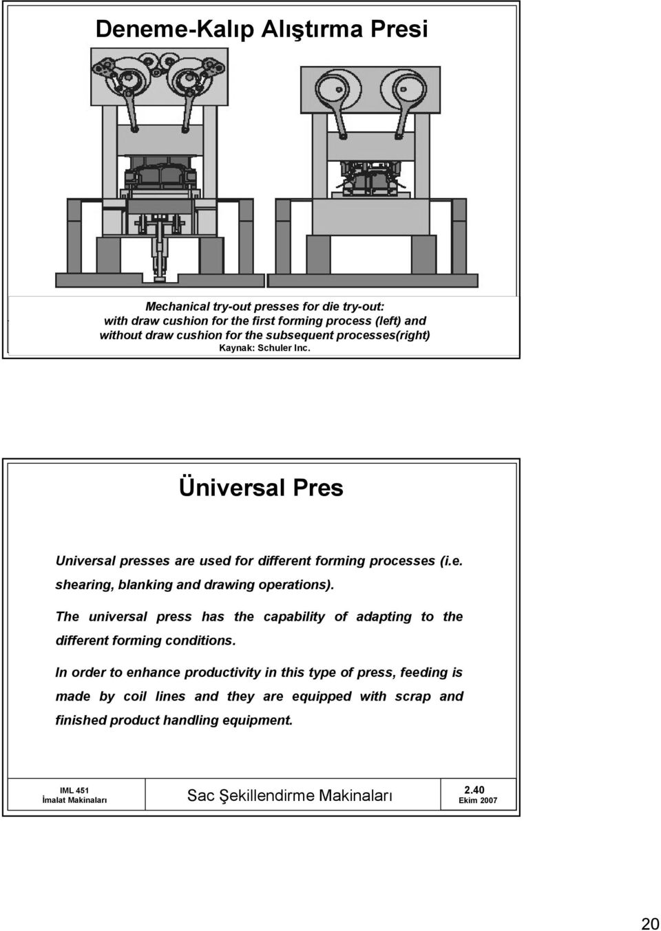 The universal press has the capability of adapting to the different forming conditions.