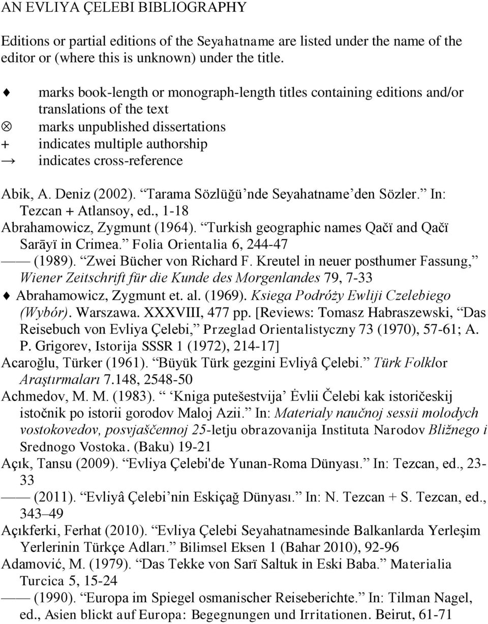 Deniz (2002). Tarama Sözlüğü nde Seyahatname den Sözler. In: Tezcan + Atlansoy, ed., 1-18 Abrahamowicz, Zygmunt (1964). Turkish geographic names Qačï and Qačï Sarāyï in Crimea.
