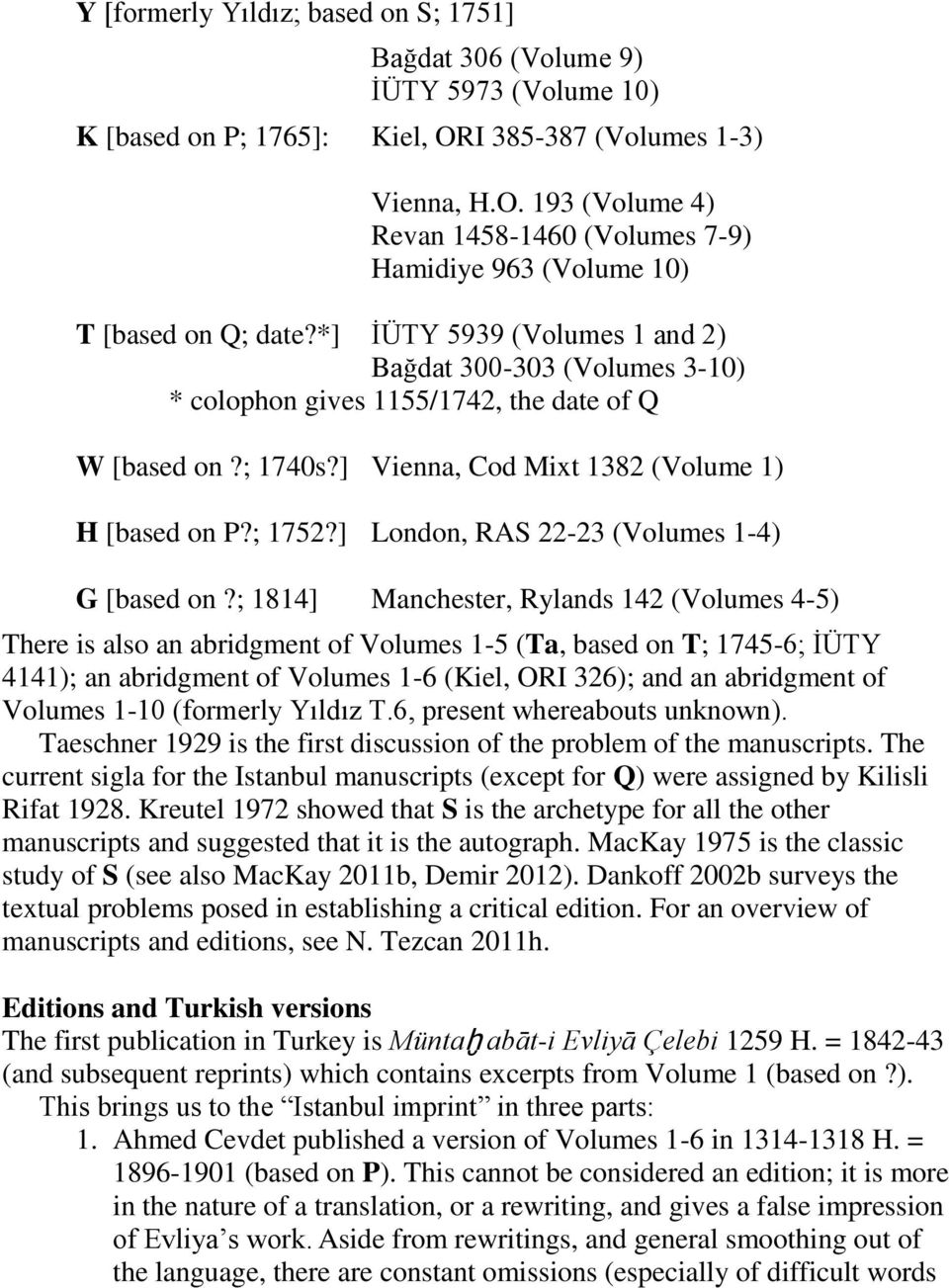 *] İÜTY 5939 (Volumes 1 and 2) Bağdat 300-303 (Volumes 3-10) * colophon gives 1155/1742, the date of Q W [based on?; 1740s?] Vienna, Cod Mixt 1382 (Volume 1) H [based on P?; 1752?