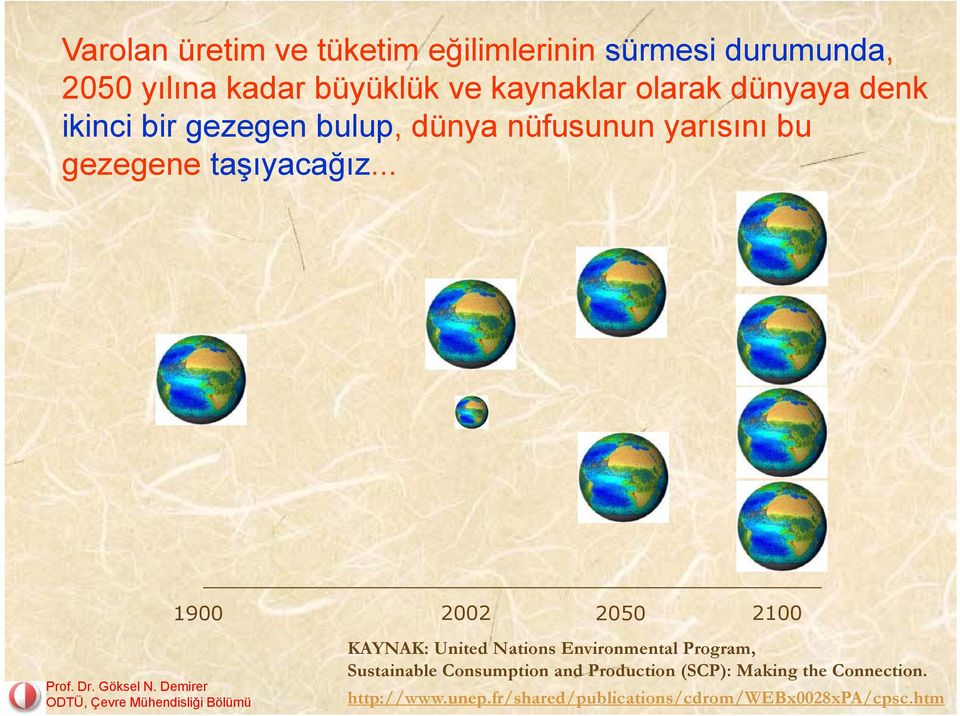 .. 1900 2002 2050 2100 KAYNAK: United Nations Environmental Program, Sustainable Consumption and