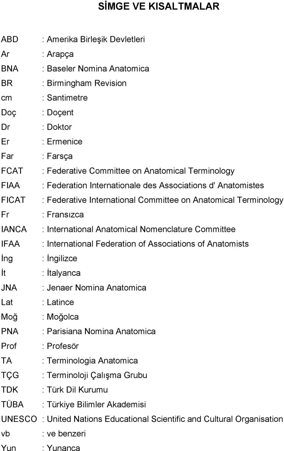IANCA : International Anatomical Nomenclature Committee IFAA : International Federation of Associations of Anatomists İng : İngilizce İt : İtalyanca JNA : Jenaer Nomina Anatomica Lat : Latince Moğ :