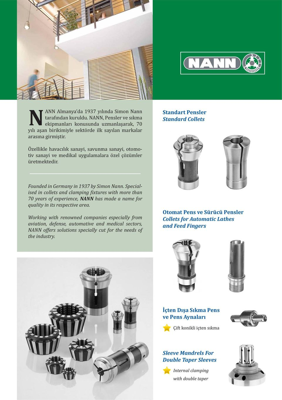 Specialised in collets and clamping ixtures with more than 70 years of experience, NANN has made a name for quality in its respective area.