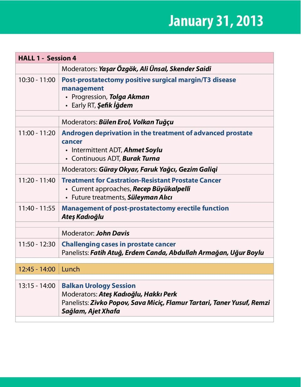 Güray Okyar, Faruk Yağcı, Gezim Galiqi 11:20-11:40 Treatment for Castration-Resistant Prostate Cancer Current approaches, Recep Büyükalpelli Future treatments, Süleyman Alıcı 11:40-11:55 Management