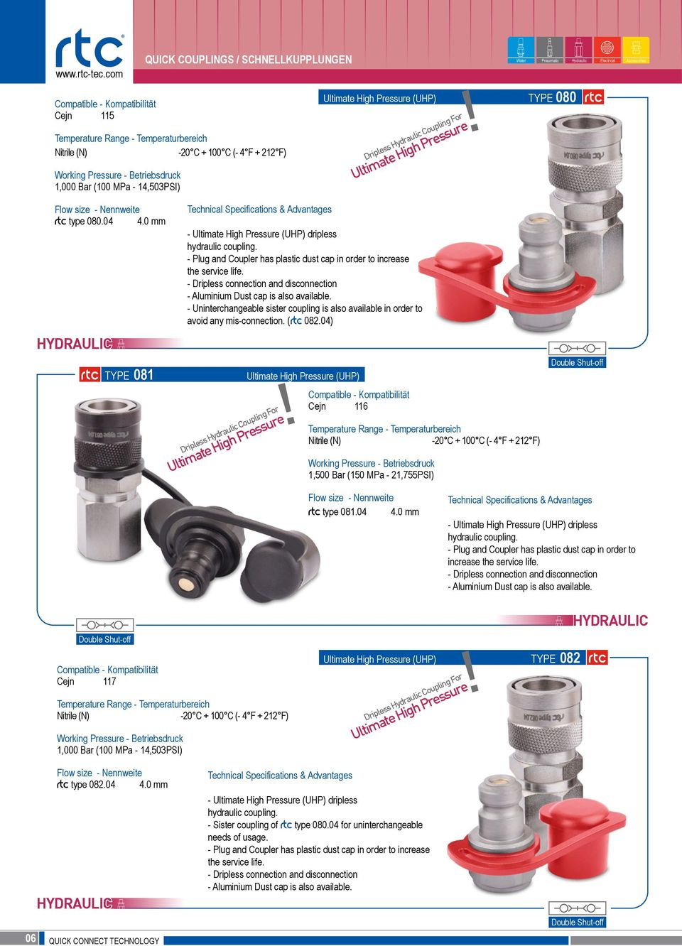 04 4.0 mm 081 Technical Specifications & Advantages - Ultimate High Pressure (UHP) dripless hydraulic coupling. - Plug and Coupler has plastic dust cap in order to increase the service life.