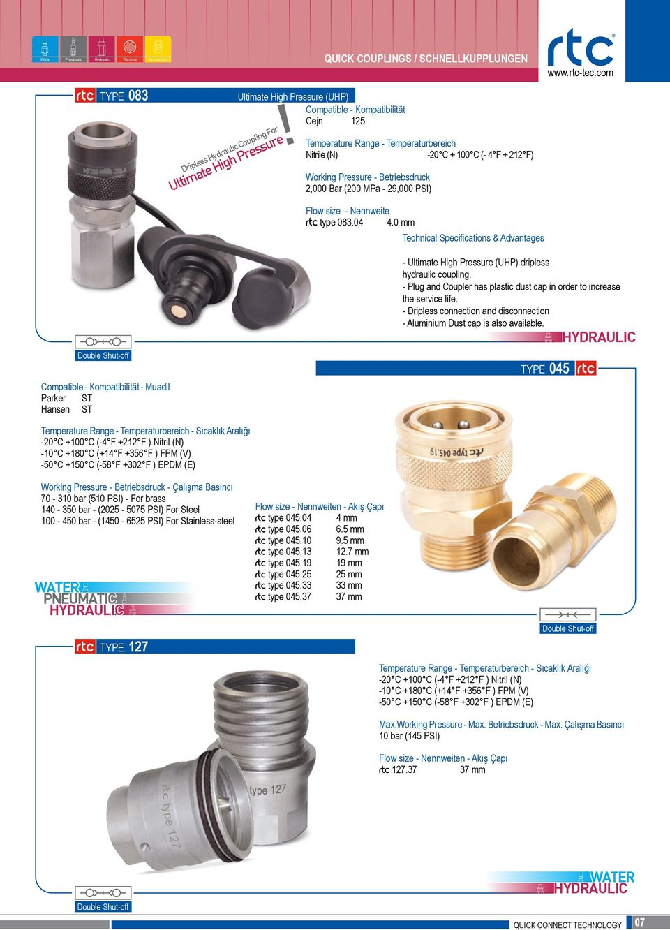 Nennweite rtc type 083.04 4.0 mm Technical Specifications & Advantages Parker ST Hansen ST - Ultimate High Pressure (UHP) dripless hydraulic coupling.