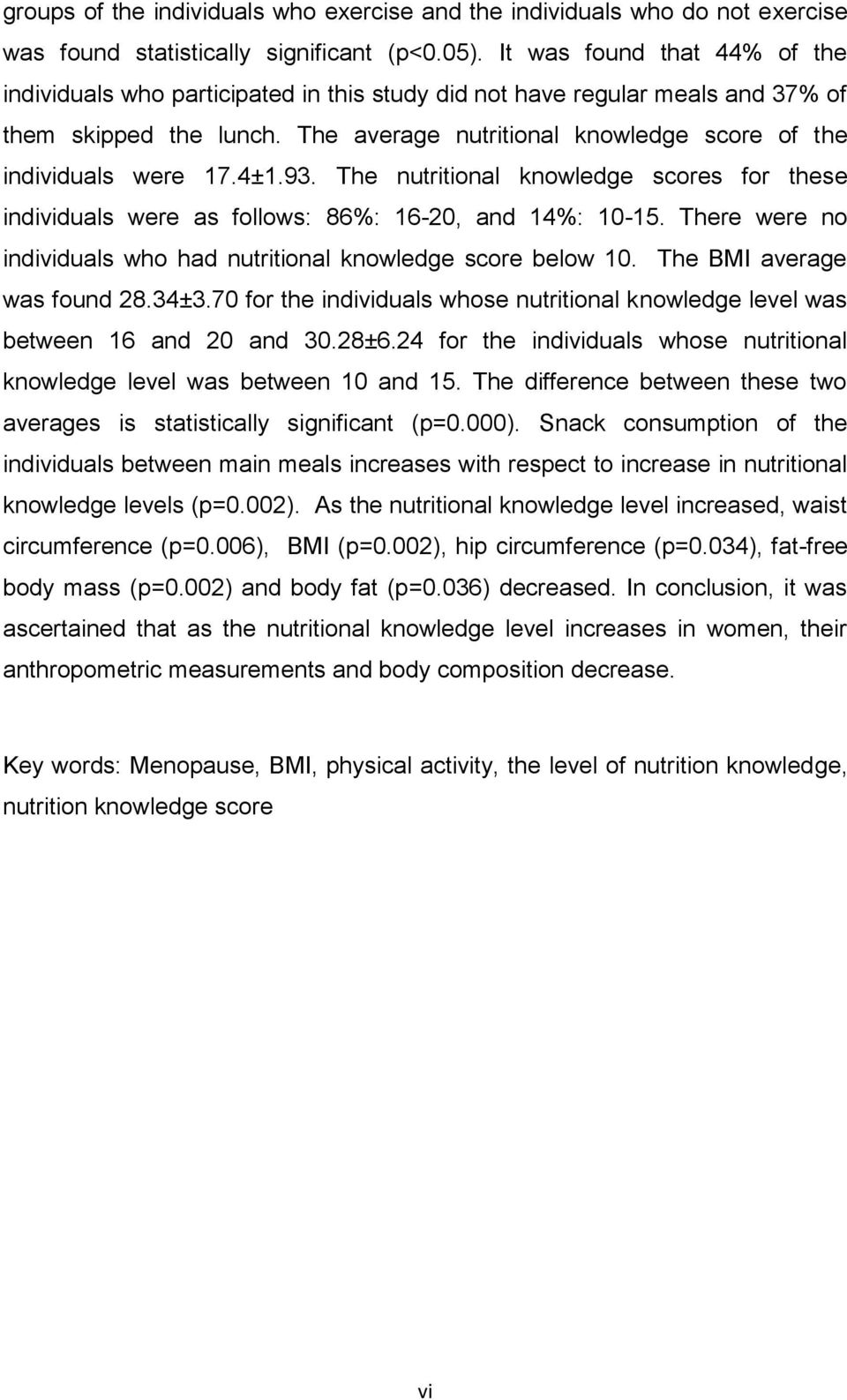 The average nutritional knowledge score of the individuals were 17.4±1.93. The nutritional knowledge scores for these individuals were as follows: 86%: 16-20, and 14%: 10-15.