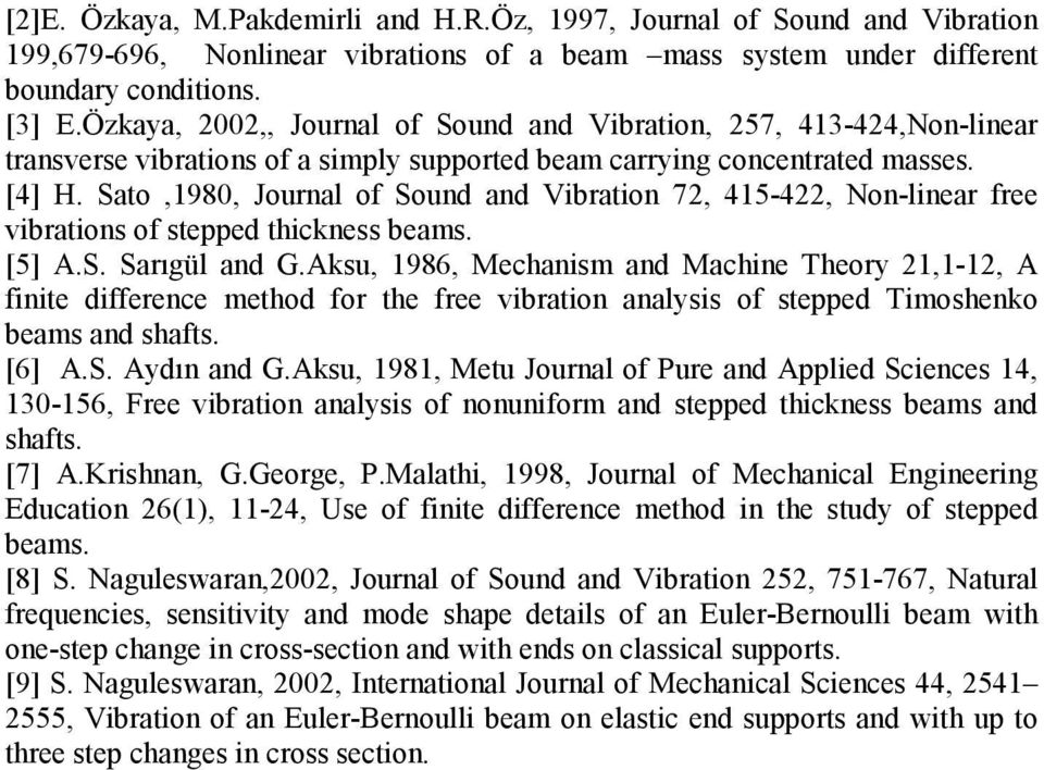 Sato,980, Journal of Sound and Vibration 7, 45-4, Non-linear free vibrations of stepped thickness beams. [5] A.S. Sarıgül and G.