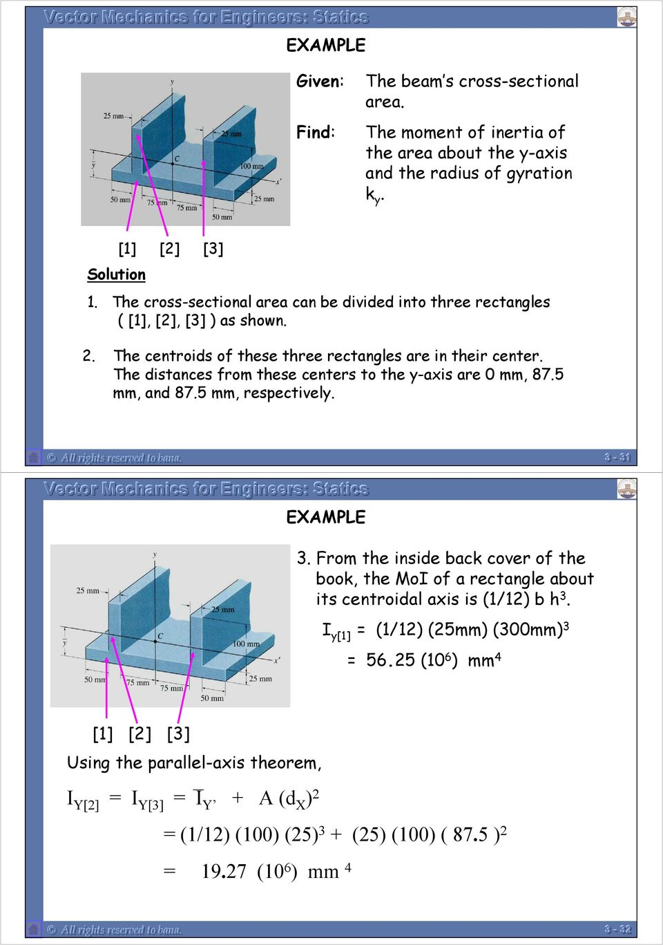 mm, and 875 mm, respectivel All rights reserved to bana -- 1 EXAMPLE From the inside back cover of the book, the MoI of a rectangle about its centroidal axis is (1/1) b h I [1]