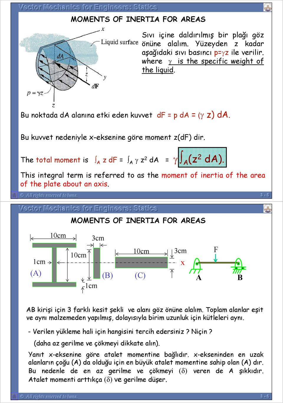 of the area of the plate about an axis All rights reserved to bana -- 55 MOMENTS OF INERTIA FOR AREAS 10cm cm 1cm (A) 10cm 1cm (B) 10cm (C) cm x A F B AB kirişi için farklı kesit şekli ve alanı göz
