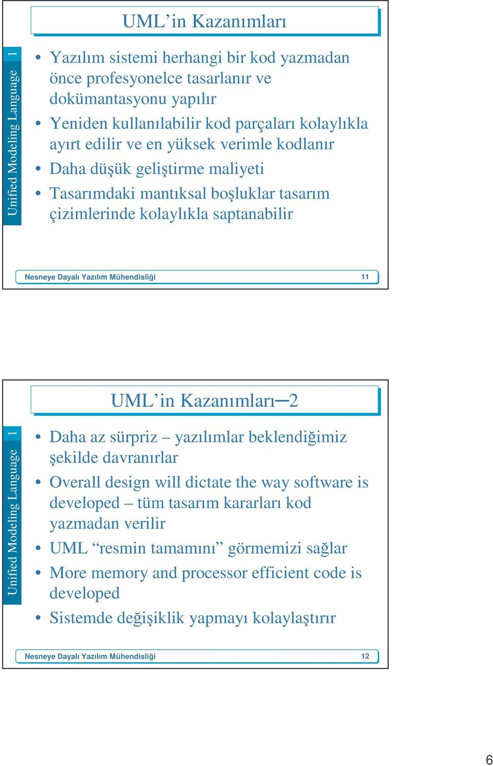 UML in Kazanımları 2 Daha az sürpriz yazılımlar beklendiğimiz şekilde davranırlar Overall design will dictate the way software is developed tüm tasarım kararları kod yazmadan